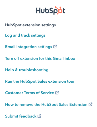 Hubspot Extension Settings